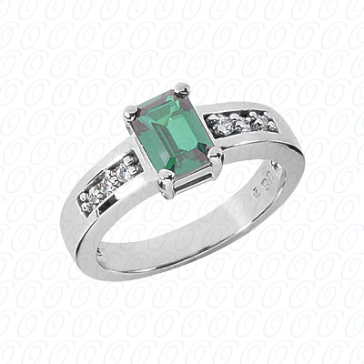 14KW Emerald Cut Diamond Unique Engagement Ring 0.12 CT. Color Stone Rings Style