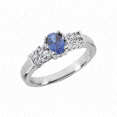 14KW Oval Cut Diamond Unique Engagement Ring 0.28 CT. Color Stone Rings Style