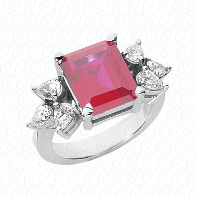 14KW Emerald Cut Diamond Unique Engagement Ring 0.84 CT. Color Stone Rings Style