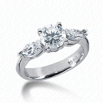 14KW Combination Cut Diamond Unique Engagement Ring 0.74 CT. Three Stones Style