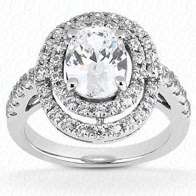 14KW Oval Cut Diamond Unique Engagement Ring 0.60 CT. Halo Style
