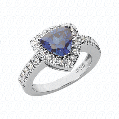 14KW Trillion Cut Diamond Unique Engagement Ring 0.40 CT. Color Stone Rings Style