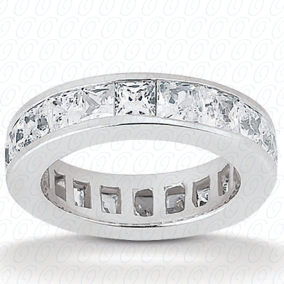 14KW Princess Cut Diamond Unique Engagement Ring 2.40 CT. Eternity Wedding Bands Style