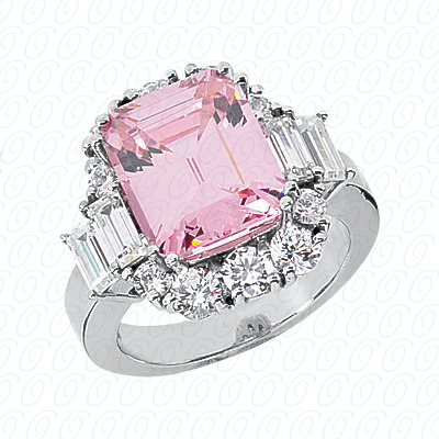 14KW Emerald Cut Diamond Unique Engagement Ring 1.90 CT. Color Stone Rings Style