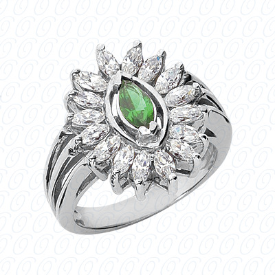 14KW Marquise Cut Diamond Unique Engagement Ring 1.49 CT. Color Stone Rings Style