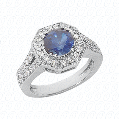 14KW Round Cut Diamond Unique Engagement Ring 0.65 CT. Color Stone Rings Style