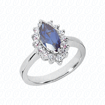 14KW Marquise Cut Diamond Unique Engagement Ring 0.42 CT. Color Stone Rings Style