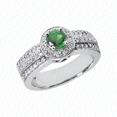 14KW Round Cut Diamond Unique Engagement Ring 1.06 CT. Color Stone Rings Style