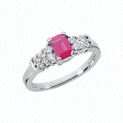 14KW Emerald Cut Diamond Unique Engagement Ring 0.28 CT. Color Stone Rings Style