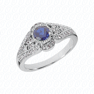 14KW Round Cut Diamond Unique Engagement Ring 0.71 CT. Color Stone Rings Style