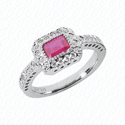 14KW Emerald Cut Diamond Unique Engagement Ring 0.30 CT. Color Stone Rings Style
