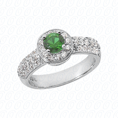 14KW Round Cut Diamond Unique Engagement Ring 0.72 CT. Color Stone Rings Style