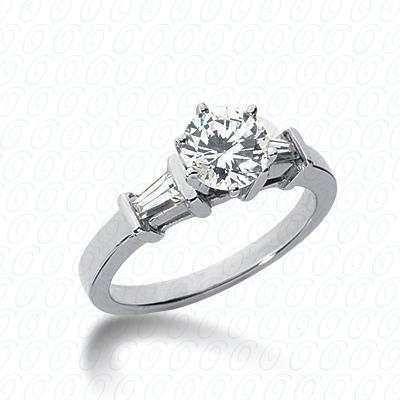14KW Baguette Bar Cut Diamond Unique Engagement Ring 0.30 CT. Bq Side Stones  Style