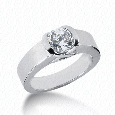 14KP Round Cut Diamond Unique Engagement Ring 0.00 CT. Solitaires Style