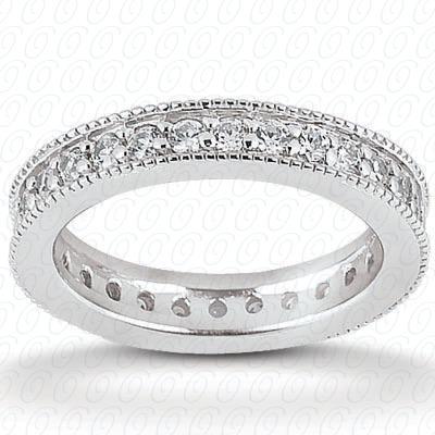 14KW  Round Cut Diamond Unique Engagement Ring 0.45 CT. Eternity Wedding Bands Style