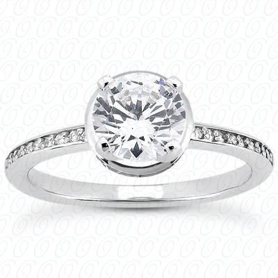 14KW Halo Petite  Cut Diamond Unique Engagement Ring 0.18 CT. Petite Style
