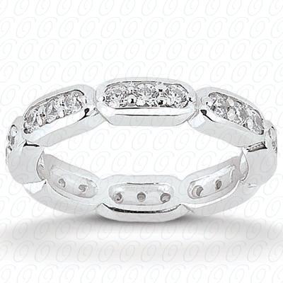 14KW  Round Cut Diamond Unique Engagement Ring 0.30 CT. Eternity Wedding Bands Style