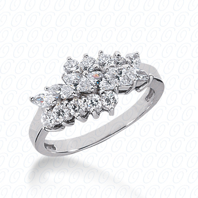 14KW Mq+Rd Cut Diamond Unique Engagement Ring 1.13 CT. Combinations Style