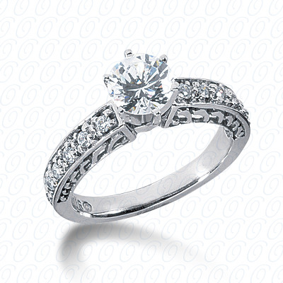 14KW Antique Cut Diamond Unique Engagement Ring 0.30 CT. Engagement Rings Style