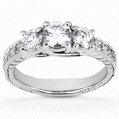 14KW Antique Cut Diamond Unique Engagement Ring 0.45 CT. Engagement Rings Style
