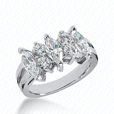 14KW Mq+Rd Cut Diamond Unique Engagement Ring 2.10 CT. Combinations Style