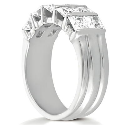 14KW Bar Set Cut Diamond Unique Engagement Ring 2.70 CT. Princess Style