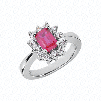 14KW Emerald Cut Diamond Unique Engagement Ring 0.36 CT. Color Stone Rings Style