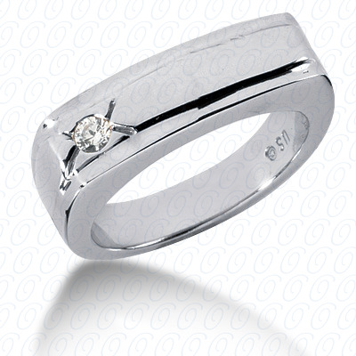 14KW Wedding Bands Cut Diamond Unique Engagement Ring 0.10 CT. Mens Rings Style
