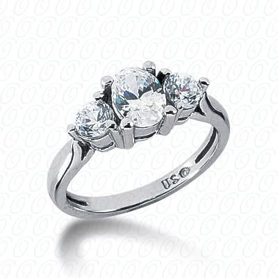 14KW Combination Cut Diamond Unique Engagement Ring 0.50 CT. Three Stones Style