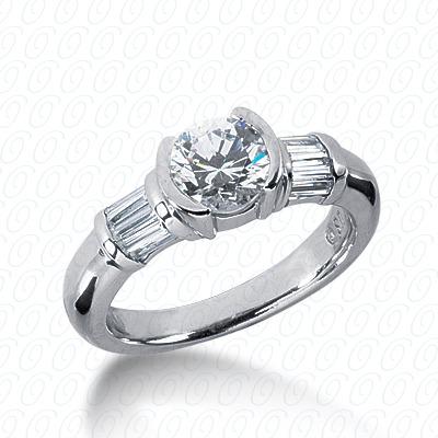 14KW Baguette Bar Cut Diamond Unique Engagement Ring 0.40 CT. Bq Side Stones  Style