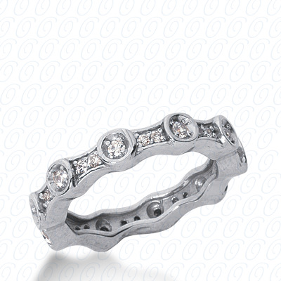 14KW  Round Cut Diamond Unique Engagement Ring 0.41 CT. Eternity Wedding Bands Style