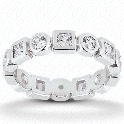 14KW Combinations Cut Diamond Unique Engagement Ring 0.96 CT. Eternity Wedding Bands Style