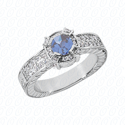 14KW Round Cut Diamond Unique Engagement Ring 0.82 CT. Color Stone Rings Style