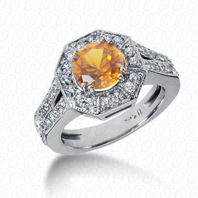14KW Round Cut Diamond Unique Engagement Ring 0.69 CT. Color Stone Rings Style