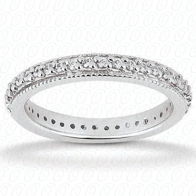 14KW  Round Cut Diamond Unique Engagement Ring 0.36 CT. Eternity Wedding Bands Style