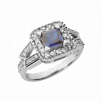 14KW Princess Cut Diamond Unique Engagement Ring 0.46 CT. Color Stone Rings Style