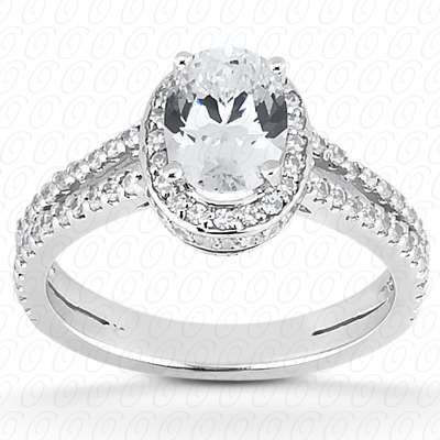 14KW Oval Cut Diamond Unique Engagement Ring 0.85 CT. Halo Style