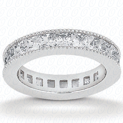 14KW Princess Cut Diamond Unique Engagement Ring 0.90 CT. Eternity Wedding Bands Style