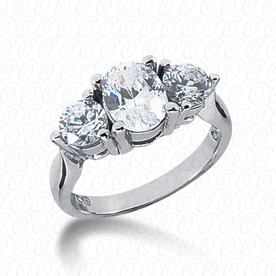 14KW Combination Cut Diamond Unique Engagement Ring 1.00 CT. Three Stones Style