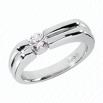 14KW Solitaires Cut Diamond Unique Engagement Ring 0.35 CT. Mens Rings Style