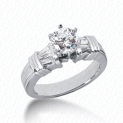 14KW Baguette Bar Cut Diamond Unique Engagement Ring 0.52 CT. Bq Side Stones  Style