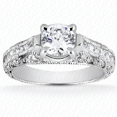 14KW Antique Cut Diamond Unique Engagement Ring 0.52 CT. Engagement Rings Style