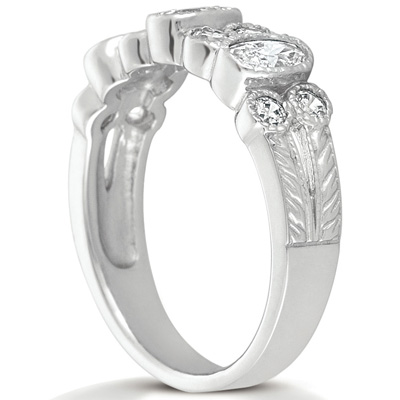 14KW Oval Cut Diamond Unique Engagement Ring 0.99 CT. Wedding Bands Style