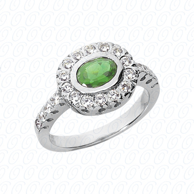 14KW Oval Cut Diamond Unique Engagement Ring 0.44 CT. Color Stone Rings Style