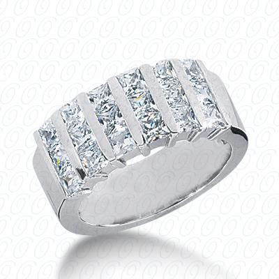 14KW Bar Set Cut Diamond Unique Engagement Ring 2.55 CT. Princess Style