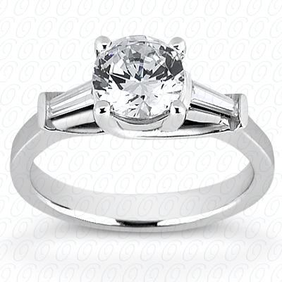 14KW Baguette Bar Cut Diamond Unique Engagement Ring 0.26 CT. Bq Side Stones  Style