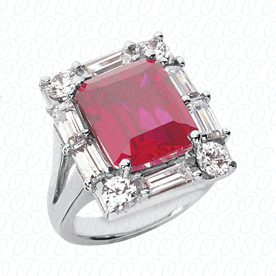 14KW Emerald Cut Diamond Unique Engagement Ring 2.08 CT. Color Stone Rings Style
