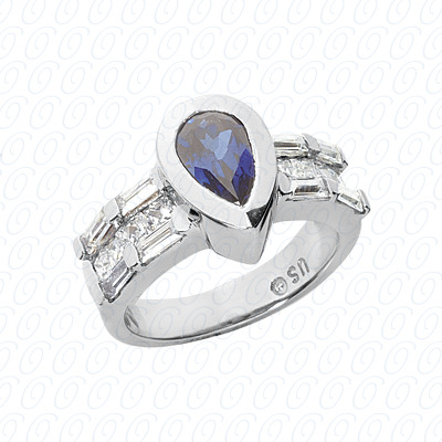 Pear Cut Diamond Unique Engagement Ring 0.88 CT. Color Stone Rings Style