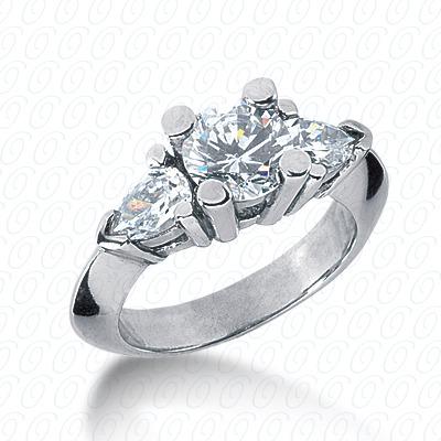 14KW Combination Cut Diamond Unique Engagement Ring 0.80 CT. Three Stones Style