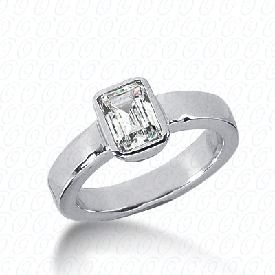 14KW Emerald Cut Diamond Unique Engagement Ring 0.00 CT. Solitaires Style
